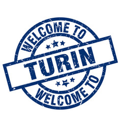 Welcome to turin blue stamp vector