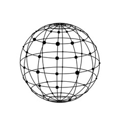 Wireframe sphere with dots vector