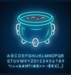 Witch cauldron neon light icon brew potion wicked vector
