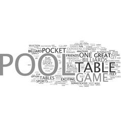 Your sport is pool text background word cloud vector