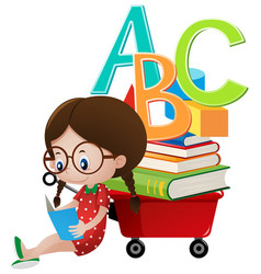 Girl reading book by the wagon vector
