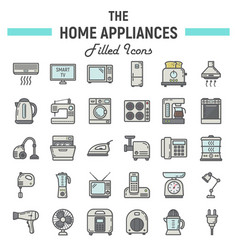 home appliances colorful line icon set technology vector image vector image