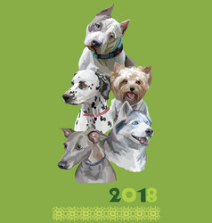 postcard with dogs of different breeds-6 vector image vector image