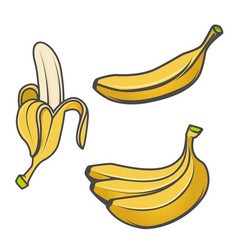 set of banana icons isolated on white background vector image vector image