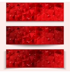 Set of red abstract geometric polygonal banners vector image