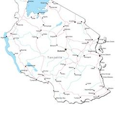 Tanzania Black White Map vector image vector image