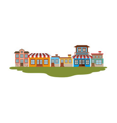 Colorful silhouette of facade store country houses vector