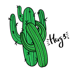 couple of cactus with message hugs vector image