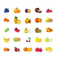 fresh fruits big polygonal icons set vector image