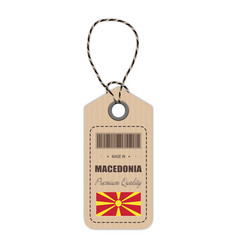 hang tag made in macedonia with flag icon isolated vector image