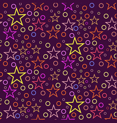 seamless geometric pattern of circles and stars on vector image
