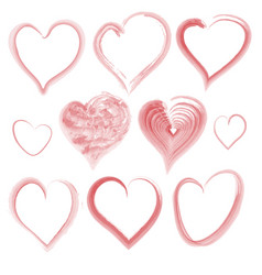 set of watercolor hearts vector image vector image
