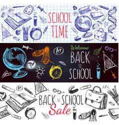 back to school banner set vector image vector image