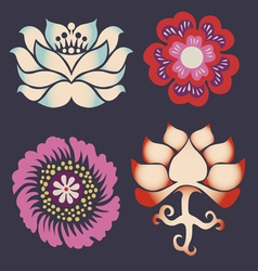 collection of symbols of a lotus vector image vector image