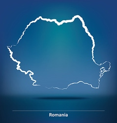 Doodle Map of Romania vector image