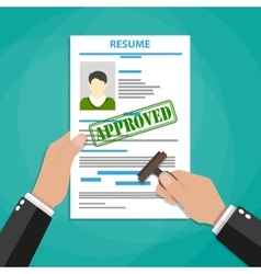 Hand holding resume with Approved stamp mark vector image