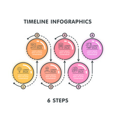 modern 6 steps timeline infographic template vector image vector image