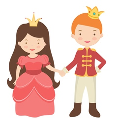 Prince and princess holding hands vector