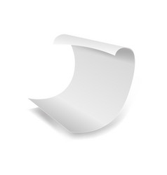 white paper sheet 3d realistic page with curved vector image vector image