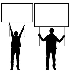 Women holding different signs vector image vector image