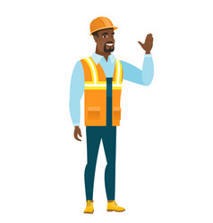 young african-american builder waving his hand vector image vector image