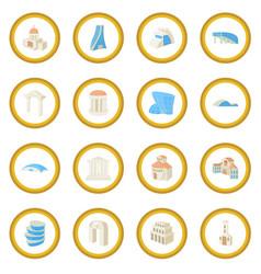 architecture set icon circle vector image