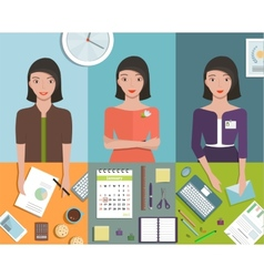 Office Manager Woman Working in Different Poses vector image vector image