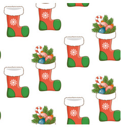 seamless pattern with christmas socks vector image vector image