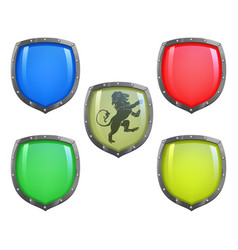 Shields in different colours vector