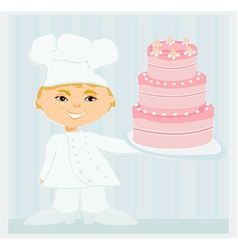 sweet chef with cake vector image