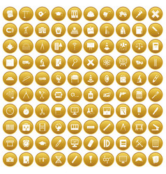 100 compass icons set gold vector