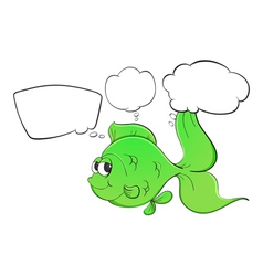 A green fish with empty callouts vector image