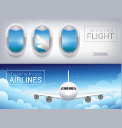 Airplane window the tourist banner passenger vector