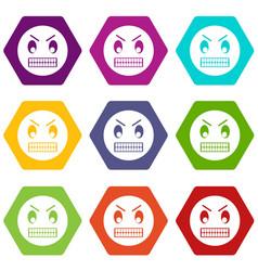 angry emoticon set color hexahedron vector image