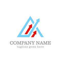 Arrow triangle up business logo vector