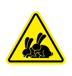 attention rabbit sex caution bunny hare vector image