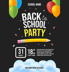 back to school party invitation flat design vector image