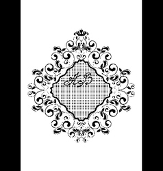 Black wavy rhomboid frame with curls vector image vector image