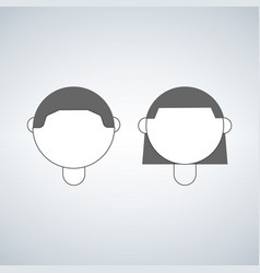 boy and girl head icon isolated on white vector image