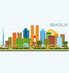 Braslia brazil city skyline with color buildings vector