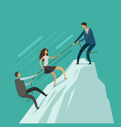 business people is helping each other to the top vector image