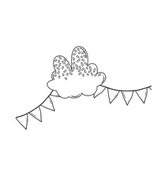 Candy cloud and pennants black and white vector