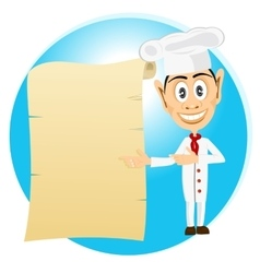 chef holding old paper scroll vector image