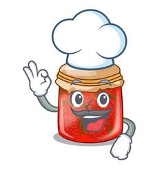 Chef strawberry marmalade in glass jar of cartoon vector