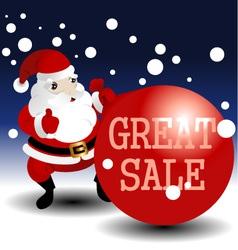 christmas sale card with santa vector image