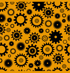 cogwheel seamless pattern black color elements on vector image
