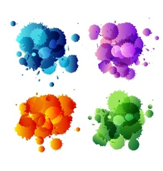 Collection of colorful abstract paint splash vector image