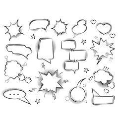 comic speech bubbles signs black thin line set vector image
