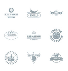 Cookhouse logo set simple style vector