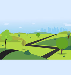 Countryside with road trees hills sky vector